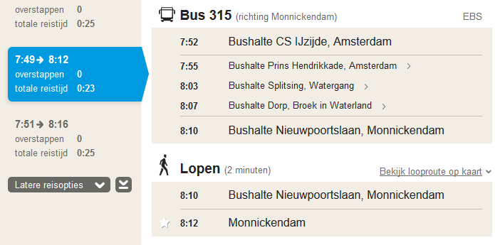 Amsterdam, public transport schedule