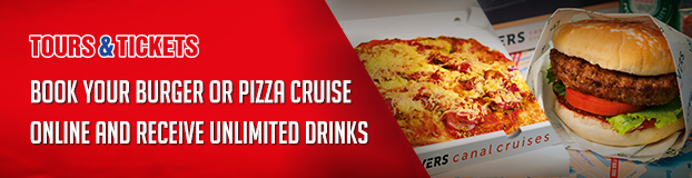 Pizza or burger cruise in Amsterdam