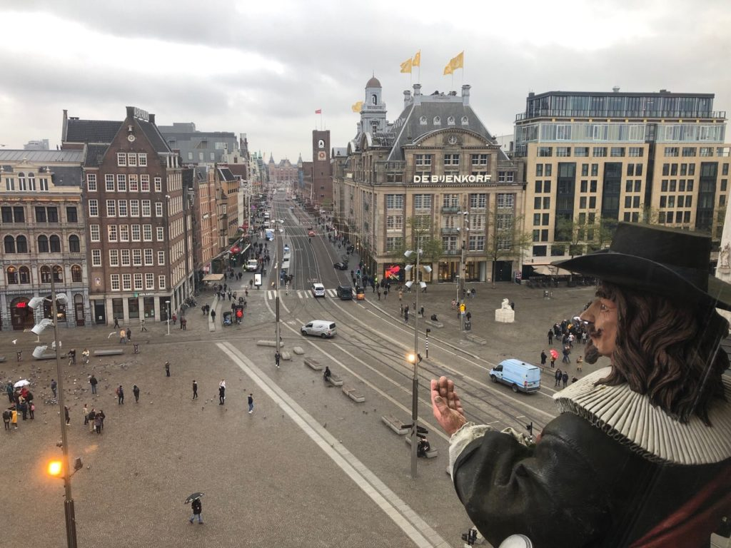 Madame Tussauds museum Amsterdam, panoramice view over the Dam square