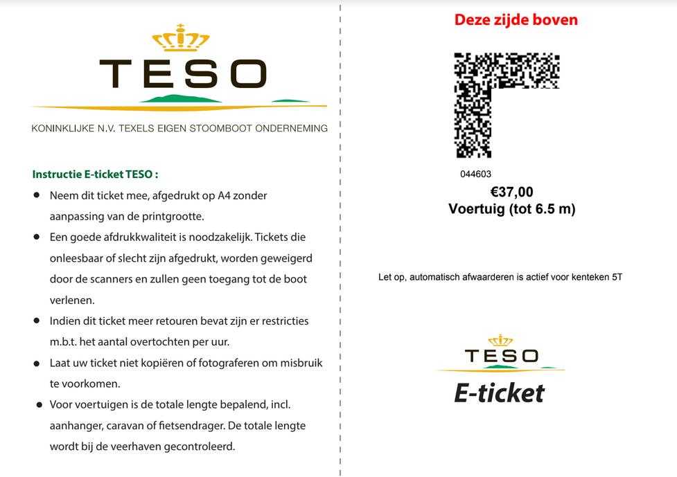 TESO boat ticket Den Helder - Texel