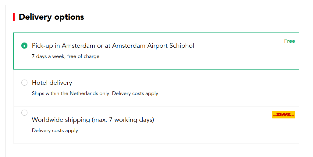 Order I amsterdam city card, delivery options
